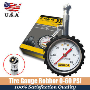 Tire Gauge Robbor Air Pressure 60 Psi Vehicle Dial Meter Tester Handheld New