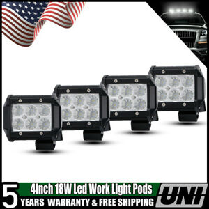 Pair 4inch Backup Reverse Led Work Light Offroad Suv Truck Pods Flood Fog Lights