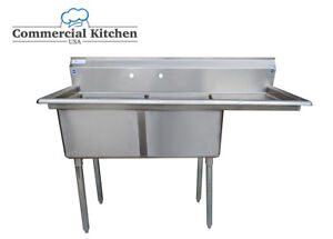 Stainless Steel 2 Compartment Sink 56 5 x24 W Right Drainboard Nsf Certified
