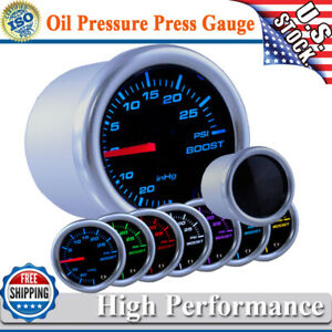 Universal 2 52mm 7colors Led Turbo Boost Gauge Meter Pointer Psi Pod Smoke Usa