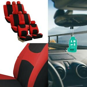 3 Row Red And Black Fabric Seat Covers With Air Freshener