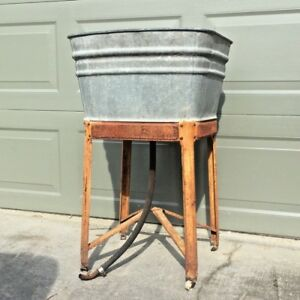 Antique Wash Tub W Stand Perfect For Cooler Galvanized With Great Patina