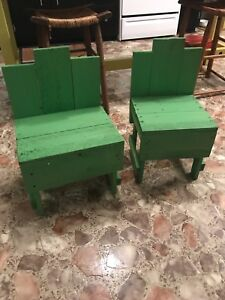 Green Wooden Primitive Childs Bench Chair Set