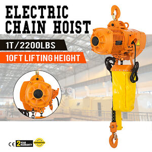 2200lbs Electric Chain Hoist 10 Lift Height High Speed Building W limit Switch