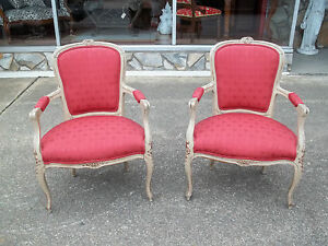 Fantastic Pair Of French Carved Fauteuil Chairs With New Damask Fabric 19thc