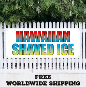 Banner Vinyl Hawaiian Shaved Ice Advertising Sign Flag Snow Cones Concessions