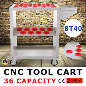Bt40 Cnc Tool Trolley Cart Holders Toolscoot White Nmbt40 4 Wheels Service Cart