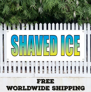 Banner Vinyl Shaved Ice Advertising Sign Flag Snow Cones Concessions Stand