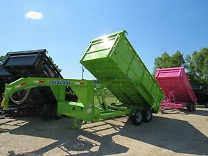 16 Ft Tandem Axle Gooseneck Dump Trailer brand New 48 Sides Load Trail green
