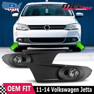 For Vw Jetta 11 14 Bumper Driving Fog Lights Lamps Wiring Switch Kit Clear