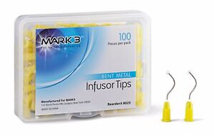 Dental Disposable Metal Infusor Yellow Tip With Brush Padded 100 bag