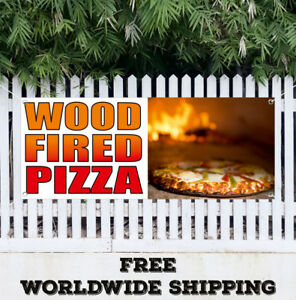 Banner Vinyl Wood Fired Pizza Advertising Sign Flag Homemade Cheese Many Sizes