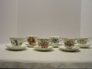 6 Cup Saucer Sets Engand English Castle Queen Anne Regency Rosina Victoria