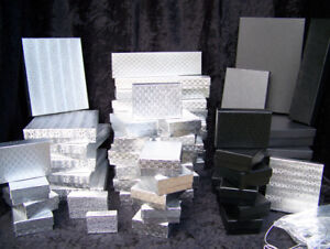Jewelry Gift Display Boxes Lot Sale Of 54 Asst Sizes Plus 24 Silver Bow Cords