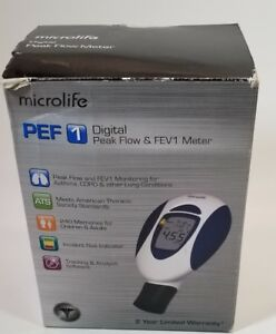 Microlife Pf 100 Peak Flow Meter For Spirometry With Fev1 New In Box