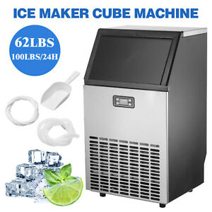 Built in Commercial Ice Maker Stainless Steel Restaurant Ice Cube Machine Silver