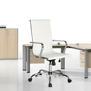 Ergonomic High Back Computer Desk Office Chair Ribbed Leather Executive Task