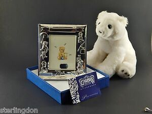 Vintage Carrs England Sterling Silver Baby Birth Photo Christening Frame W Box
