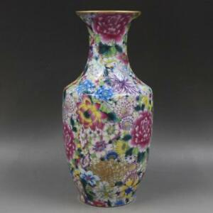 Chinese Old Marked Gilt Famille Rose Colored Flowers Pattern Porcelain Vase