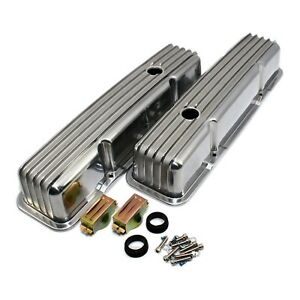 Polished Aluminum Valve Covers Tall Retro Finned 58 86 Sbc Chevy 327 350 400