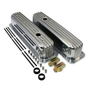 Aluminum Finned Valve Covers Tall Style Retro Vortec Tbi Small Block Chevy 350
