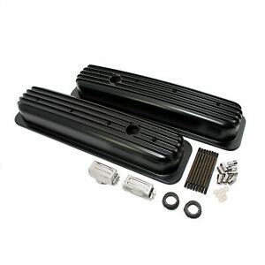 Aluminum Valve Covers Short Black Retro Vortec Finned Small Block Chevy 350