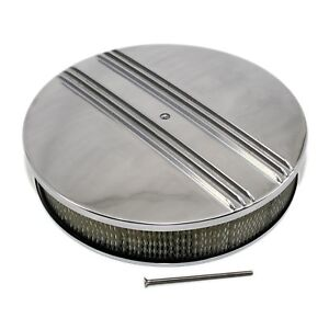 Round Air Cleaner Assembly Kit 14 X 3 Half Retro Finned Aluminum W Filter