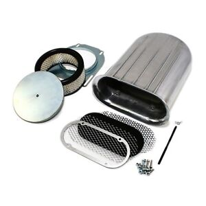 Hilborn Style Aluminum Polished Air Cleaner Hood Scoop Kit Carburetor Wide Fin