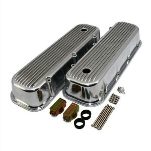 Aluminum Valve Covers Tall Polished Finned 65 95 Big Block Chevy 396 427 454