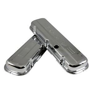 New Chrome Plated Valve Covers Bbc Stamped Steel 65 95 Big Block Chevy 454 Logo