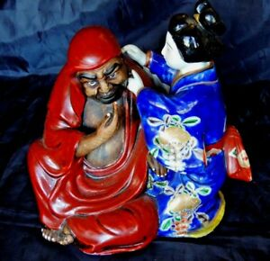 Japanese Kutani Porcelain Figure Okimono Ornament Or Statuer Dhama And Geisha