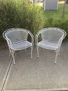 Russell Woodard Pair Of Vintage Mcm Steel Patio Chairs Midcentury Modern