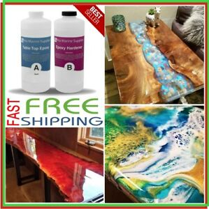 Crystal Clear Bar Table Top Epoxy Resin Coating For Wood Tabletop 2 Quart Kit