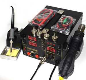 1 Set 4in1 Heat Hot Air Gun 220v Rework Station Soldering Iron Power Supply 800w