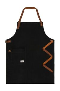 Uskees Chorlton Denim Bib Apron Black Leather Straps Barista Bartender
