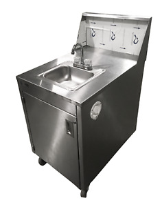 Used Qualserve Portable Stainless Steel Hand wash Station Hot And Cold Water