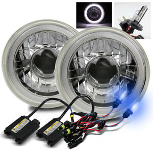 7 Round White Smd 3d Halo Ring Crystal Projector Headlights 10000k H4 2 Hid Kit