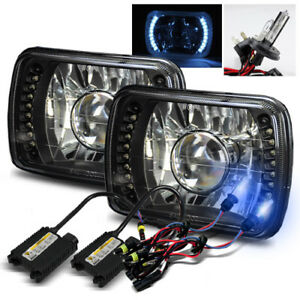 10000k H4 2 Xenon Hid 7x6 H6054 White Led Black Crystal Projector Headlights