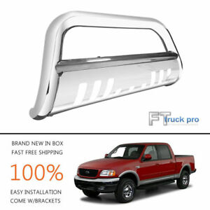 Bull Bar Bumper Grille Guard W Skid Plate For 1997 2004 Ford F150 F250ld 4wd