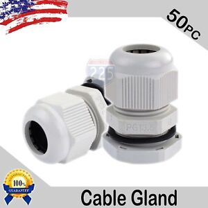 50 Pcs Pg13 5 White Nylon Waterproof Cable Gland 6 12mm Dia W Lock nut
