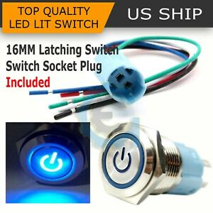 16mm 12v Car Blue Led Metal Push Button Toggle Switch Socket Plug For Car