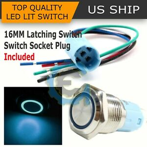 16mm 12v Car Blue Latching Led Angel Eye Light On Off Push Metal Button Switch