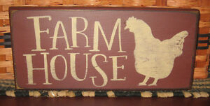 Primitive Country Farm House 12 Sign Burgundy W Chicken