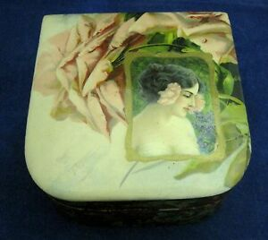 Antique Celluloid Top Presentation Box With Pink Rose Lovely Lady Nasturtium