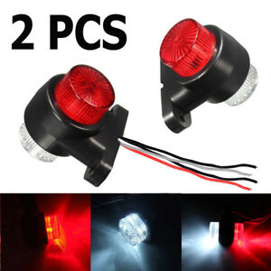 2x 12v 24v 8 Led Red White Side Marker Light Lamp Trailer Truck Lorry Caravan