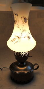 Early American Style Floral Glass Shade Lamp Key Turn Primitive Colonial 15 H