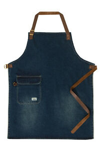 Uskees Chorlton Denim Bib Apron Vintage Wash Waiter Barista Leather Straps