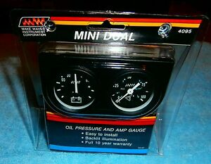 Make Waves Super Pro Mini Dual Oil Pressure Amp Gauge Set 1 1 2 Inch 4095