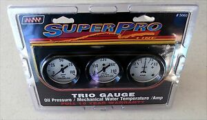 Super Pro 5060 Trio Gauge Set Trio Oil Amp Temp 2 1 16 White Face