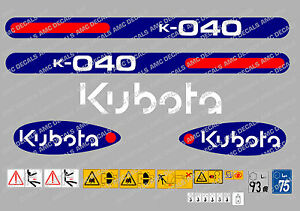 Kubota K040 Mini Digger Complete Decal Sticker Set With Safety Warning Signs